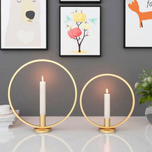 "Load image into Gallery viewer, ""Halo"" Iron Candlestick Holder"