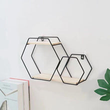 "Load image into Gallery viewer, ""Double Hexagon""  Wrought Iron Wall Shelf"