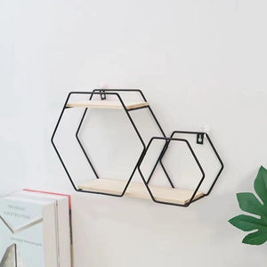 """Double Hexagon""  Wrought Iron Wall Shelf"