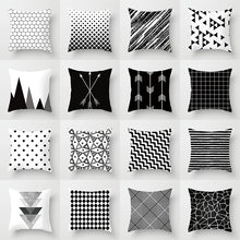 "Load image into Gallery viewer, ""Statement Pillow"" Black and White Geometric Abstract Decorative Pillowcase"