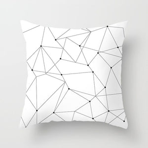 """Statement Pillow"" Black and White Geometric Abstract Decorative Pillowcases"