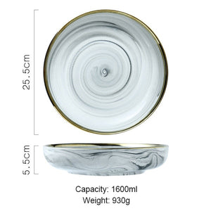 """Goldie Tabletop"" Luxury Marble Ceramic Serveware"