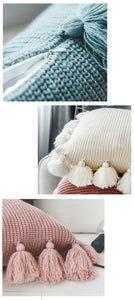 """Forever Knit"" Tassle Cushion Cover"
