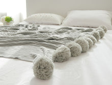 "Load image into Gallery viewer, ""Pom Pom"" Crochet Blanket"