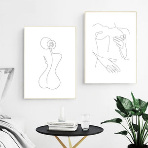 """La Femme"" Abstract One-Line Figure Wall Art"