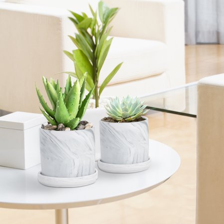 Marble Design Set of 4 Succulent Planters