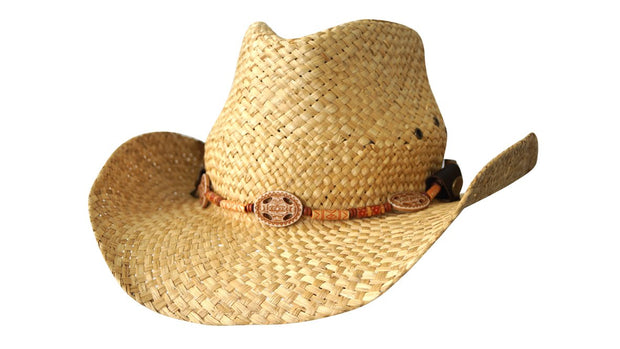 1818C Straw Cowboy Hat with Inca beads