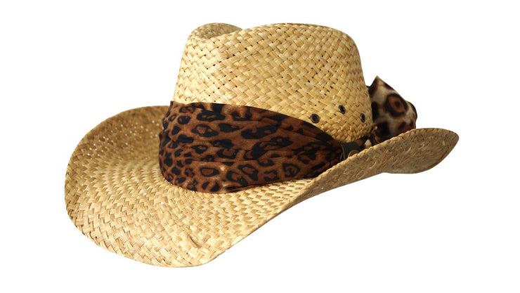 Jacaru 1818E Straw Cowboy Hat with Scarf