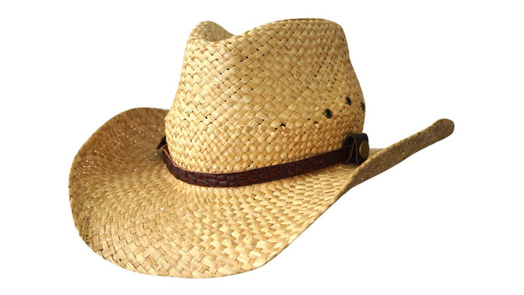 Jacaru 1818F Straw Cowboy Hat with Croc Band
