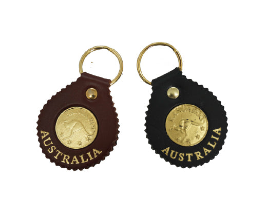 6401 Keyring Round with 'Coin', Leather