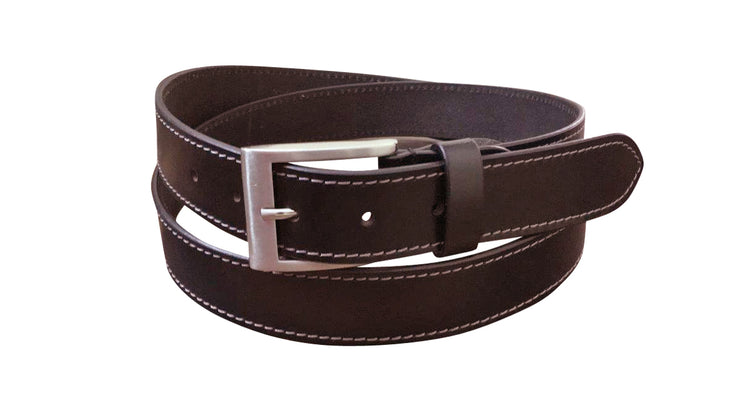 Jacaru 6015 Stitched Leather Belt Brown 35mm