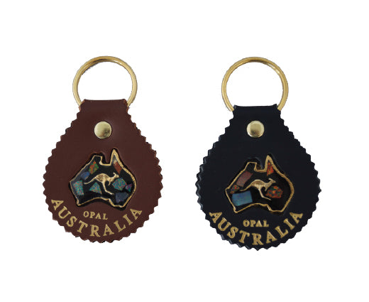 Jacaru 6403 Keyring Round with Opal, Leather