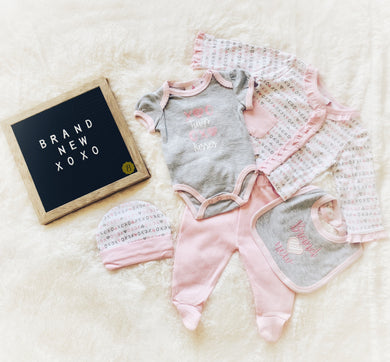 Brand New XOXO Pink and Grey (5 Piece Set)