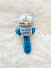 Load image into Gallery viewer, Owl Stick Rattle (Blue)