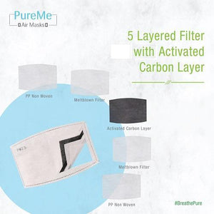 PureMe Reusable and Washable N95 Anti Pollution Mask with 2 PM2.5 Activated Carbon Filters- Dark Blue
