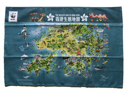 Tea Towel with Wildlife Map of Hong Kong | 香港生態圖有機棉茶巾