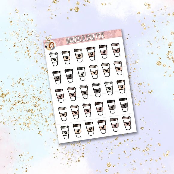 Blush Doodle Coffee Cup stickers