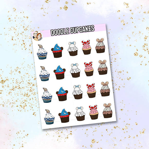 Doodle Cupcake stickers, birthday stickers