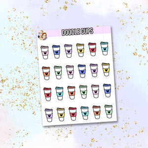 Doodle Coffee Cup stickers