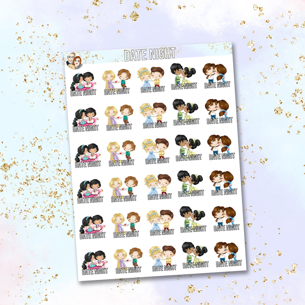 Princess Couples Date Night functional stickers
