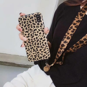 Leopard Print Phone Case With Lanyard