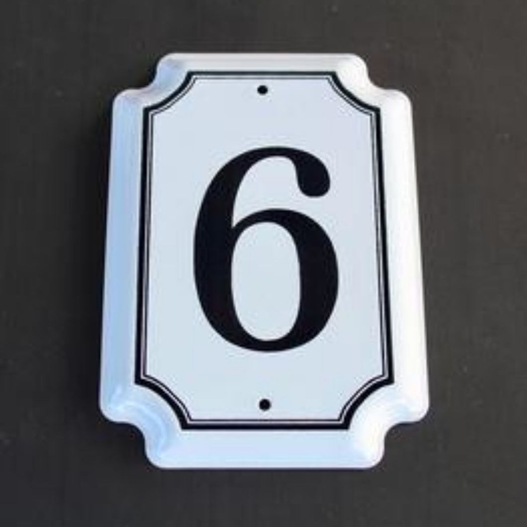 6 House Number Enamel