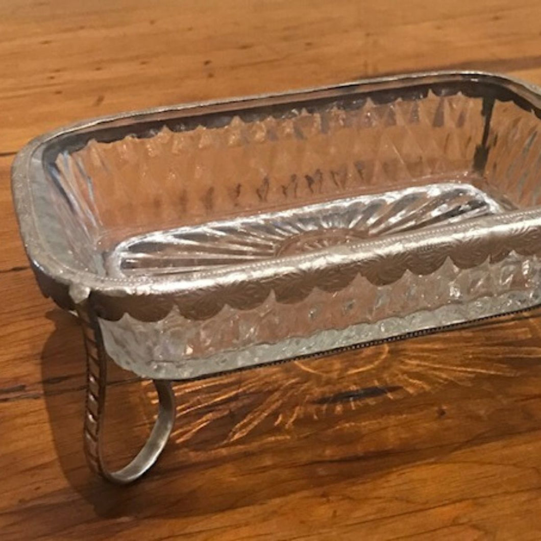 Soap Dish Glass and Pewter Antique Feel