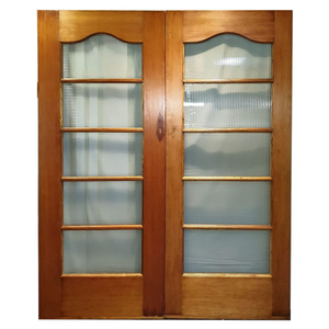 Double Doors with Ribbed Glass