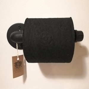 Toilet Roll Holder - Black Industrial Straight Pipe With End Stop