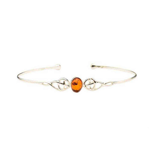 Baltic Amber Oval Gem Sterling Silver Cuff Bracelet