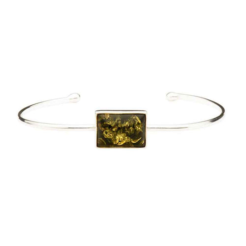 Baltic Amber Rectangle Green Gem Sterling Silver Cuff Bracelet