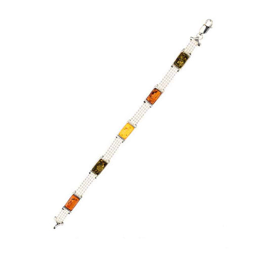 Baltic Amber Sterling Silver Link Bracelet with Raised Rectangle Cabochons
