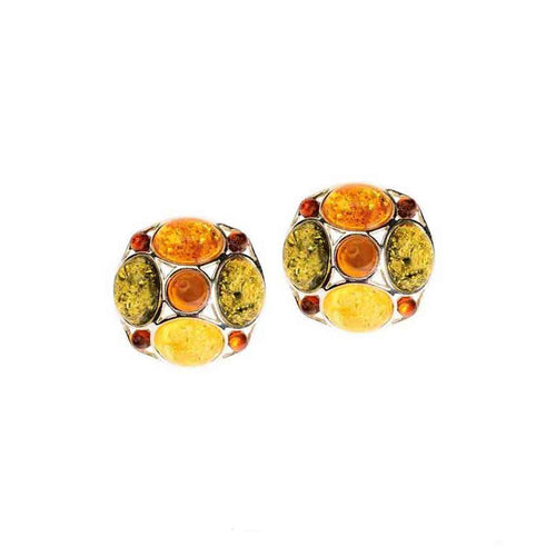 Baltic Amber Sterling Silver Post Earrings with Multicolor Amber