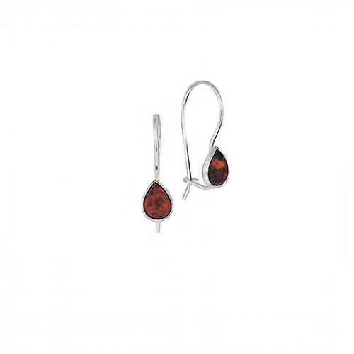 Baltic Amber and Sterling Silver Teardrop Earrings with Cherry Amber