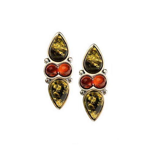 Baltic Amber Multiamber Teardrop and Round Cabochon Post Earrings