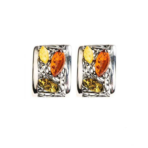 Baltic Amber Multiamber Curved Rectangle Post Earrings