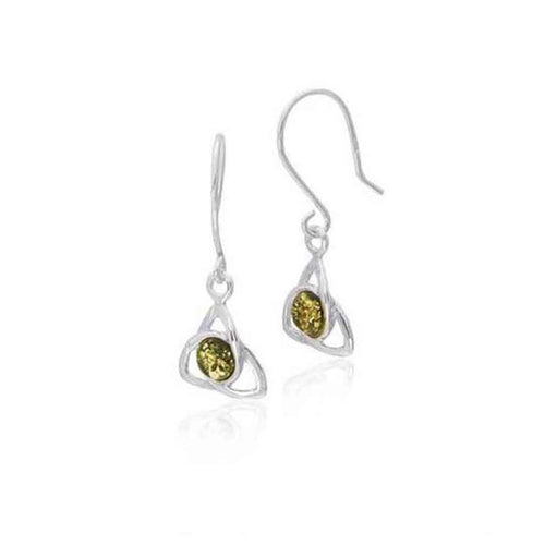 Baltic Amber Trinity Knot Sterling Silver Earrings with Green Amber