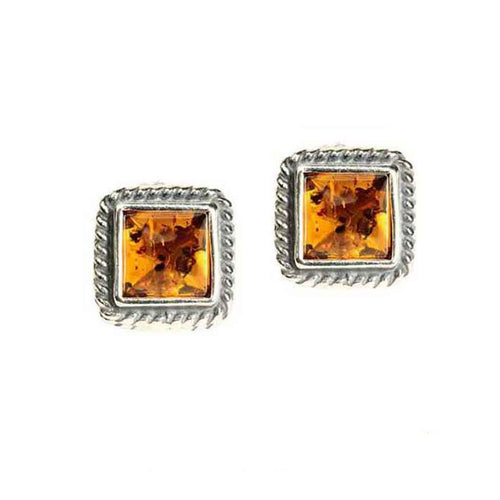 Baltic Amber and Sterling Silver Small Domed Post Earrings