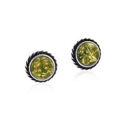 Baltic Amber and Sterling Silver Small Round Post Earrings in Green