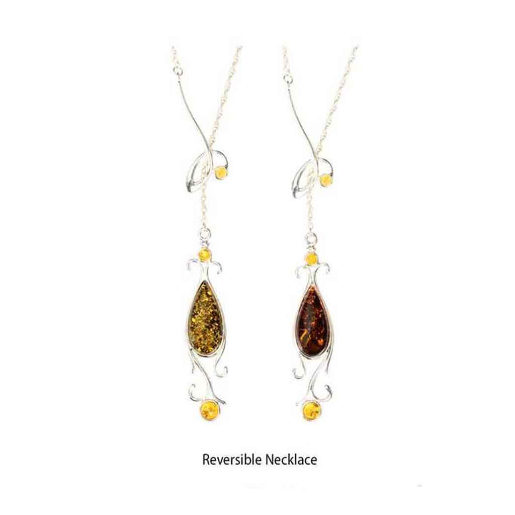 Baltic Amber Large Teardrop and Sterling Silver Reversible Necklace