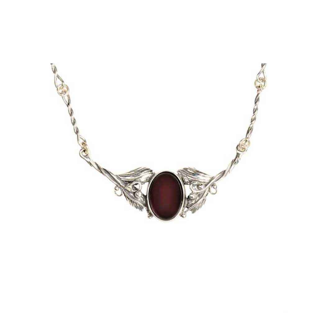 Baltic Amber Oxidized Sterling Silver Cherry Amber Necklace