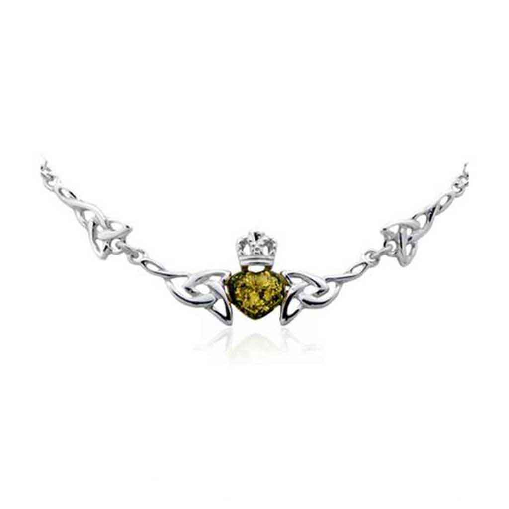 Baltic Amber Celtic Claddagh Sterling Silver Necklace in Green