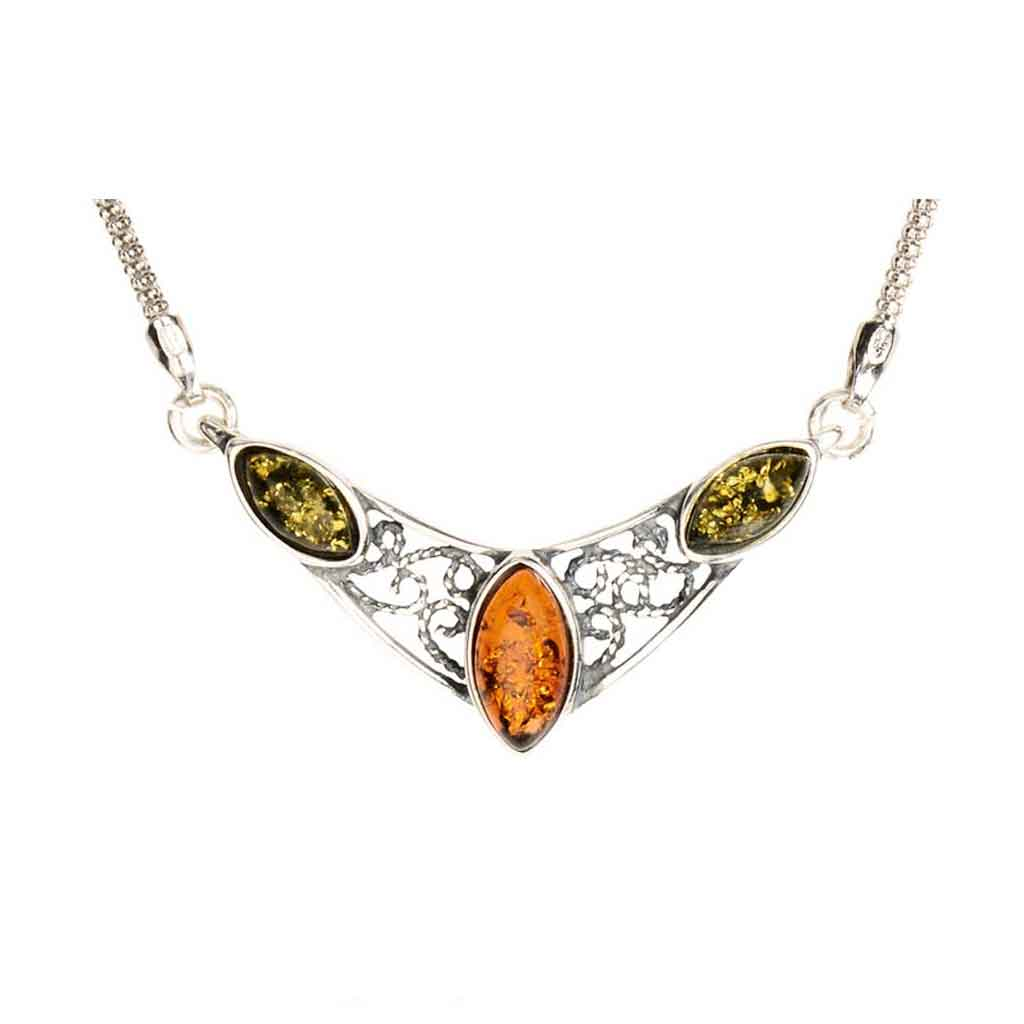 Baltic Amber Marquise Shaped Filigree Necklace
