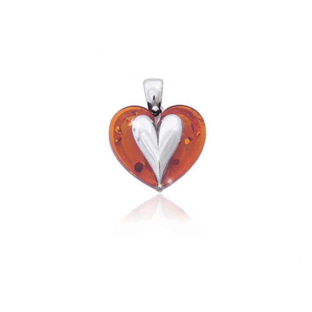 Baltic Amber Heart Pendant in Honey Amber