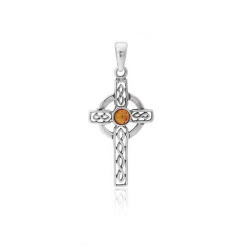 Baltic Amber Celtic Cross Sterling Silver Pendant with Cabochon in Honey