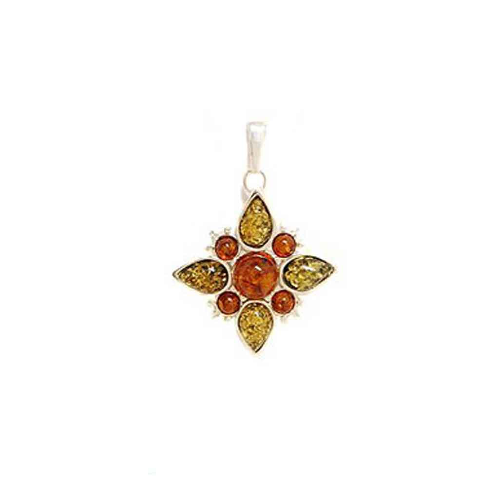 Baltic Amber Multiamber Floral Pendant