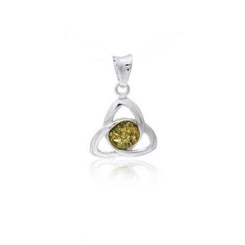Baltic Amber Celtic Trinity Knot Pendant with Green Amber Cabochon