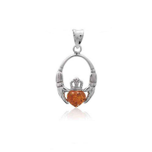 Baltic Amber Celtic Claddagh Sterling Silver Pendant in Honey