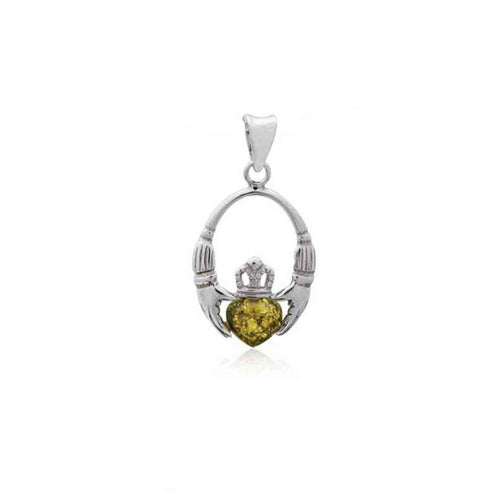 Baltic Amber Celtic Claddagh Sterling Silver Pendant in Green