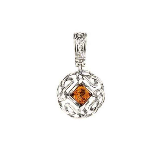 Baltic Amber Celtic Knots Sterling Silver Pendant with Honey Amber